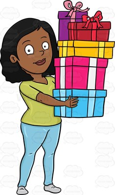 Cartoon image of a black female with medium length dark hair wearing light green shirt paired with light blue pants and gray shoes smiles as she carries stacks of multiple colored gift boxes tied with ribbons